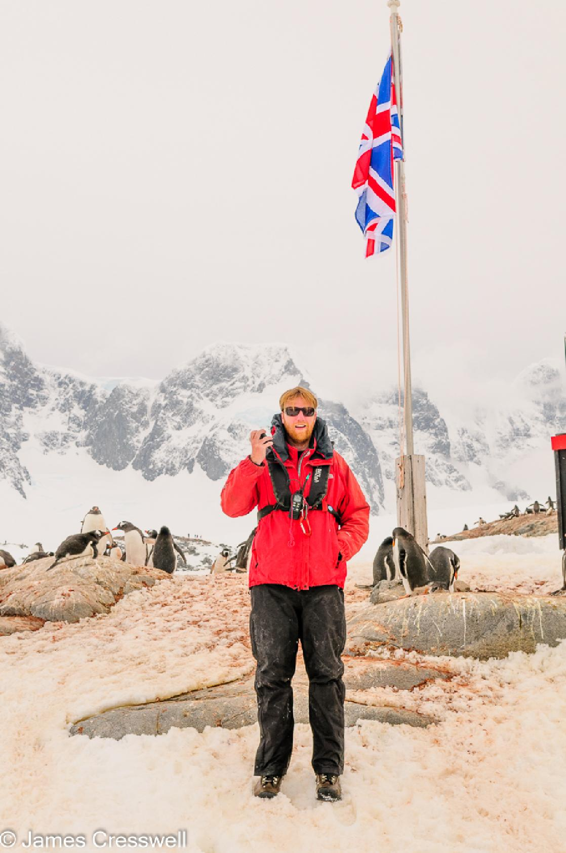 A photograph of James Cresswell Director of GeoWorld Travel & PolarWorld Travel at Port Lockroy, Antarctica