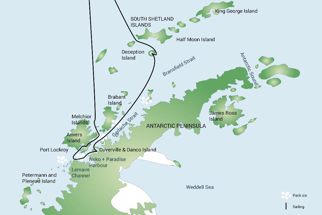 A map of the Antarctica with Deception Island polar expedition cruise, PolarWorld Travel