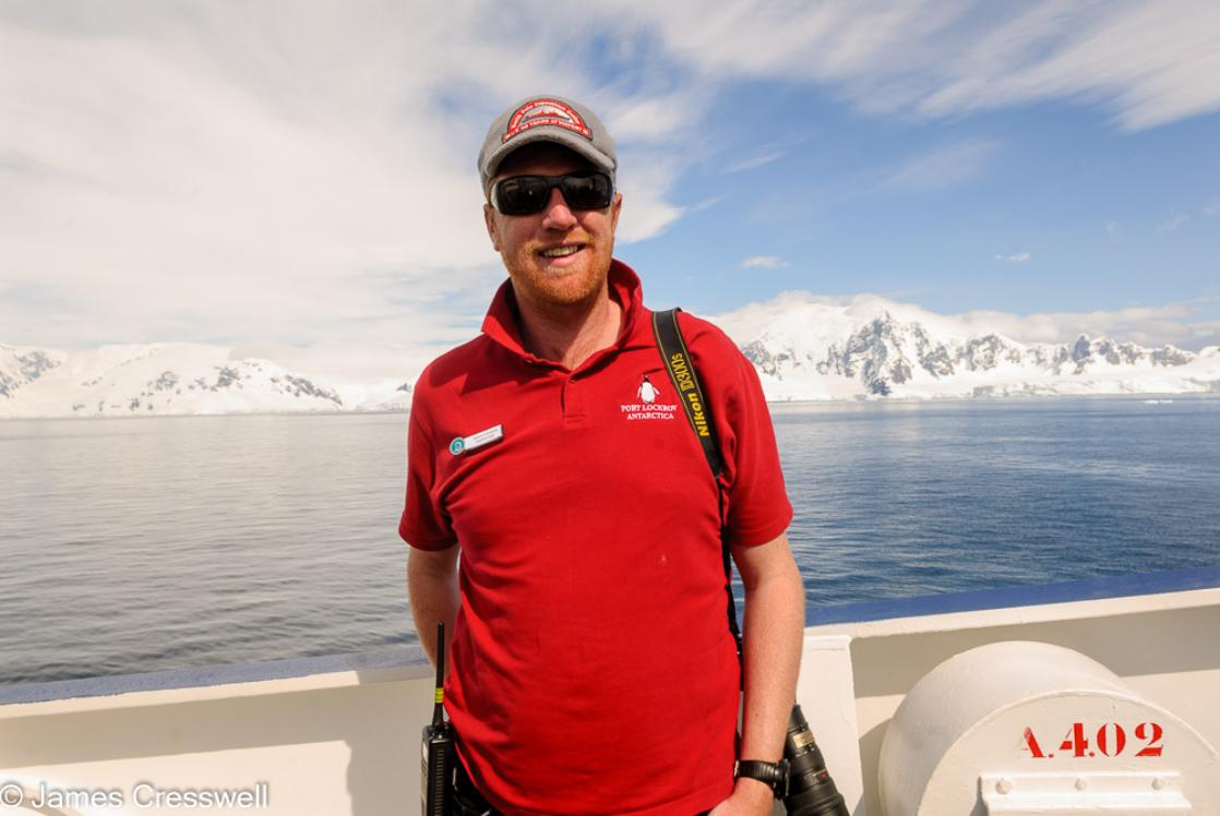 A photograph of James Cresswell Director of GeoWorld Travel & PolarWorld Travel in Wilhelmina Bay, Antarctica