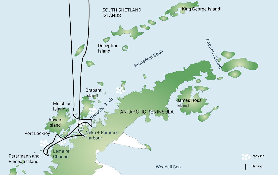 A map of the Classic Antarctica expedition cruise, PolarWorld Travel
