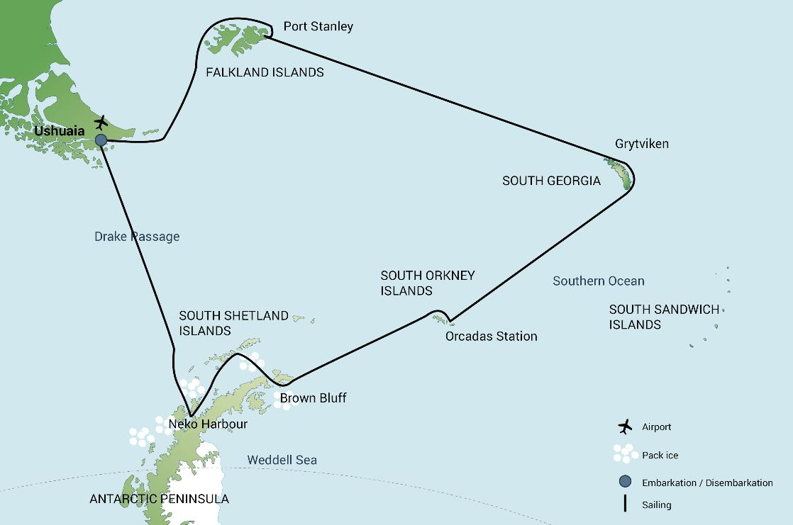 A map of the Falkland Island, South Georgia and Antarctica expedition cruise, PolarWorld Travel