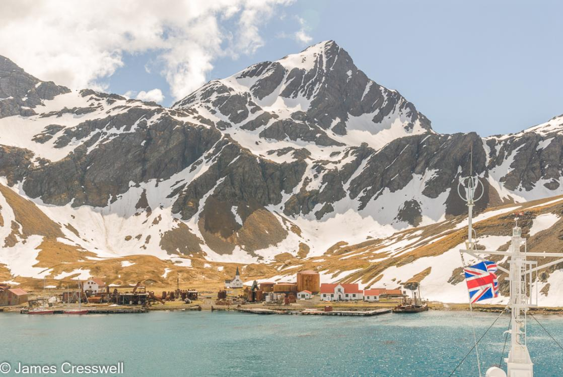 A photograph of the abandoned whaling station of Grytviken, South Georgia, taken on a PolarWorld Travel polar expedition cruise
