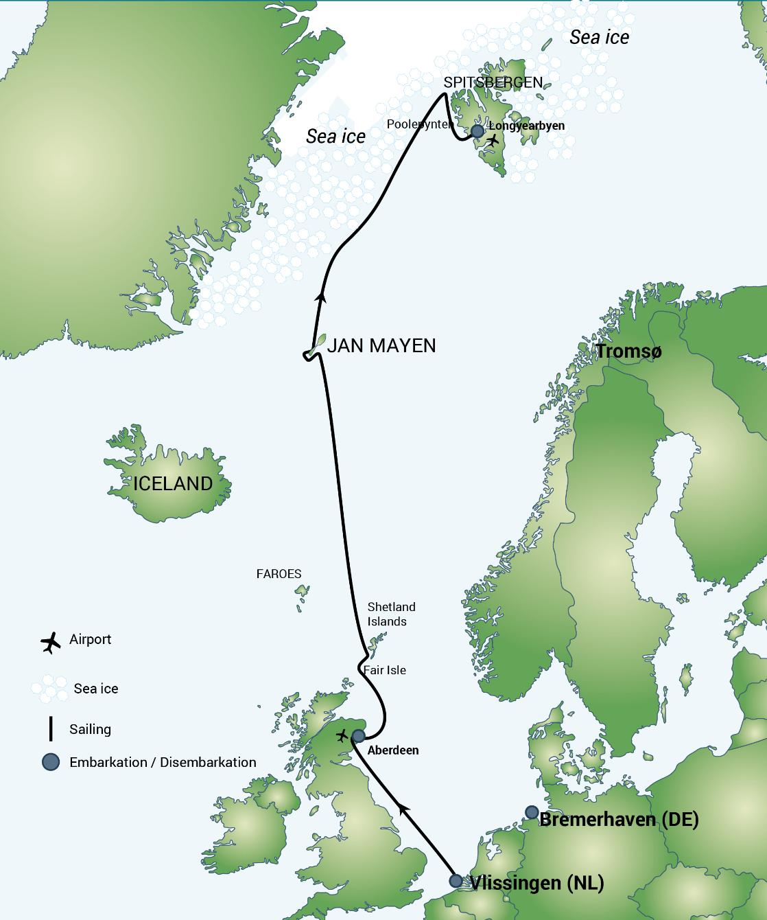 A map of the FAIR ISLE - JAN MAYEN - ICE EDGE - SPITSBERGEN polar expedition cruise, PolarWorld Travel