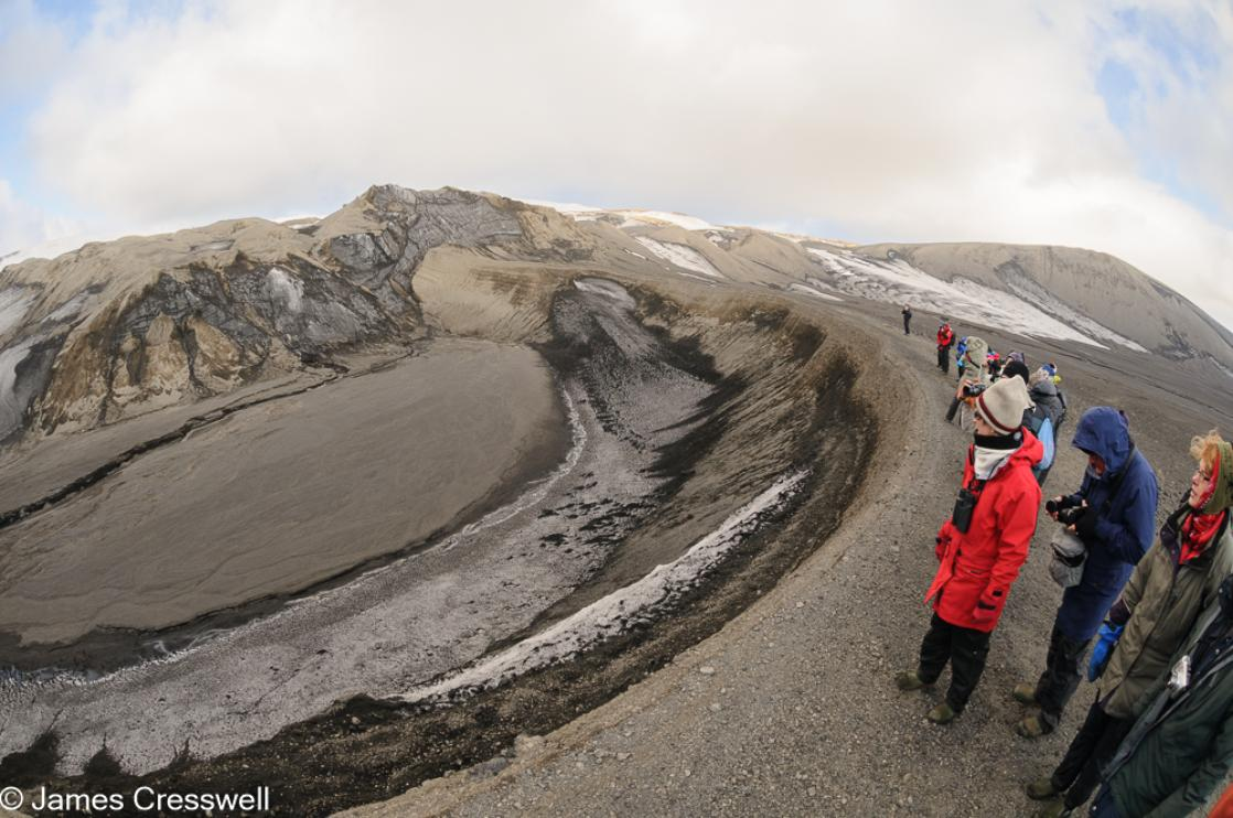 A photograph a hydro-volcanic crater at Telefon Bay that formed in the 1967 eruption of Deception Island, Antarctica, taken on a PolarWorld Travel expedition cruise