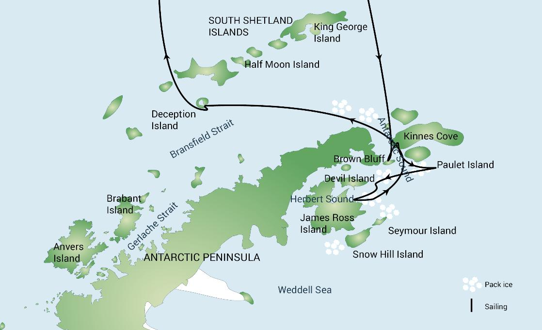 A map of the Weddell Sea Explorer polar expedition cruise, PolarWorld Travel